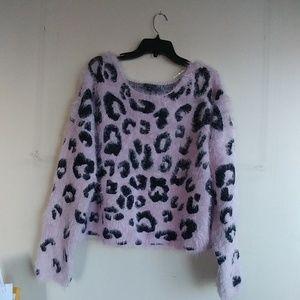 Pink leopard print eyelash fuzzy sweater